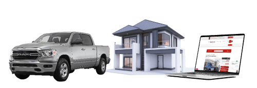 Truck House and Computer Image For Banner